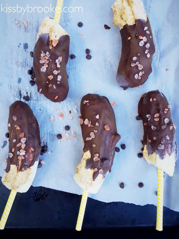 Chocolate Almond Butter Frozen Banana Pops